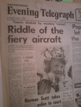 Headline on newspaper: 'Riddle of the fiery aircraft'.