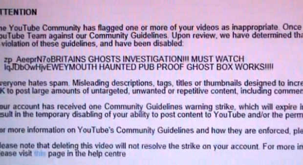 The message from YouTube